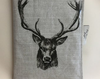 A5 diary cover,Book cover,A5 journal cover,oilcloth A5 diary cover,Stags head oilcloth