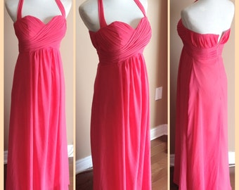 Halter Coral bridesmaid dress, chiffon bridesmaid dress - Halter neckline with circle skirt
