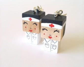 "Earrings Wooden Dolls ""Nurse"" - Hand-made"