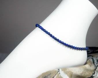"Blue Lapis Anklet - Lapis Lazuli Gemstone Ankle Bracelet - Blue Stone Anklet - Girls Size - Plus Size - 7"", 8"", 9"", 10"", 11"", 12"", 13"""