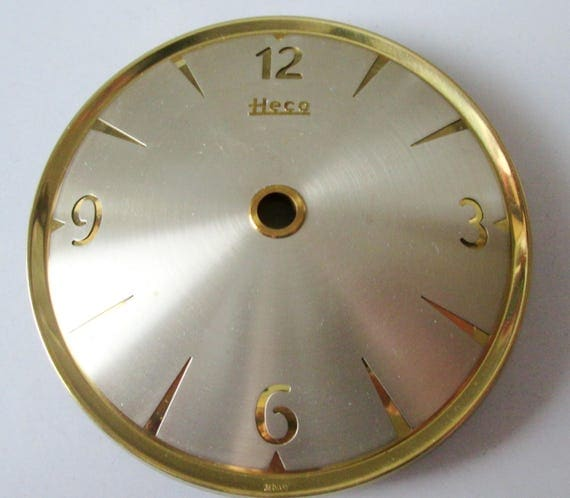 "1 Vintage German Heco Domed Brass and Steel 3 3/4"" Clock Dial with 3/8"" tall Numbers for your Clock Projects - Steampunk Art & Etc.."