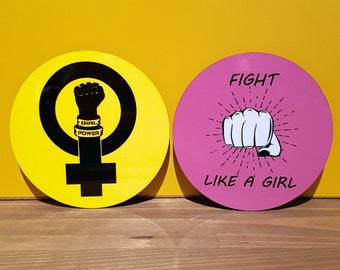 set of 2 feminist drinks coasters, feminism Protest Women's Rights girl power, fight! like a girl. wood.