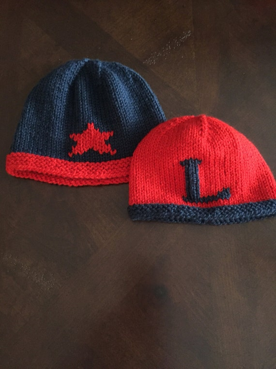 Hand-Knit Star Hat for Baby or Child - Shown in Navy/Red Merino Wool