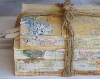 Unique Decorative Books, Vintage Books, Map Decor, Shabby Old Book Decor, Books For Decoation
