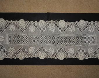 """17"""" x 50"""" Crocheted Rectangular Long Doily Ivory Flower Design Table Cover Runner Dresser"""