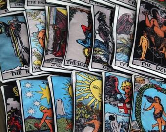 YOU CHOOSE any tarot card - lined velveteen pencil case - major arcana tarot card series