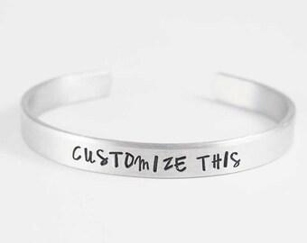 custom bracelet personalized hand stamped engraved bracelet personalize bracelet personalized cuff Valentine's Day gift friendship gift