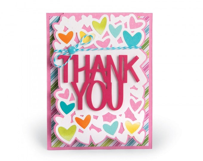 New! Sizzix Framelits Die Set 4PK - Card, Thank You Drop-ins by Stephanie Barnard