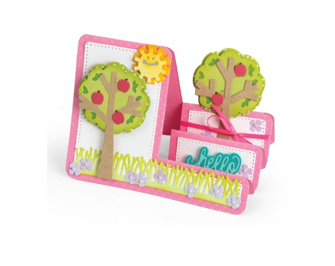 New! Sizzix Framelits Die Set 19PK - Card, Tree Step-Ups by Stephanie Barnard