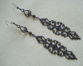 Unique Long Black Pierced Earrings A++ Condition Never Worn Open Lacey Lightweight and Comfy #301