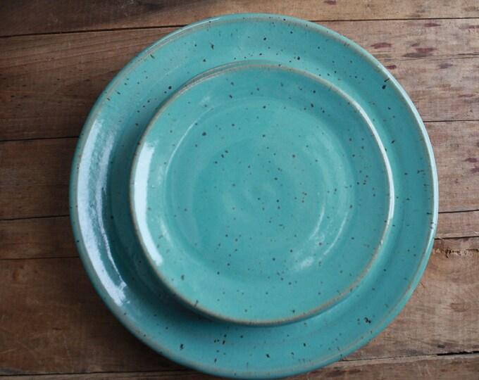 Talya & Joseph - Wedding Registy Dinner Plate + Salad Plate Set - KJ Pottery