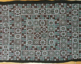 Hmong embroidery on hemp fabric embroidered hill tribe hemp textile (H219)