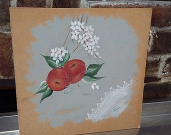 Original Oil Painting of Apples and Flowers Picture Floral Fruit Apple