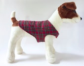 Custom Dog Coat - Reversible Red Flannel Tartan with Red Fleece