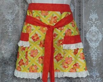 Hostess Apron - Apron with Pockets - Half Apron - Yellow Floral Apron - Lace Trimmed Apron - Ladies Half Apron - Women's Half Apron