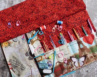 Crochet Case - Crochet Organizer - Hook Organizer - Crochet Hook Case - Makeup Brush Roll - Makeup Organizer - Makeup Storage Roll