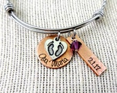 Push Present Bangle Bracelet or Necklace - Mom New Baby Expandable - Birth Adoption Memorial -  Birth Gift