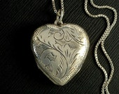 "LARGE Vintage Sterling Silver Heart LOCKET Necklace FOUR Photo Locket Double-Sided Engravings 30"" Sterling Chain, Valentine Gift for Her"