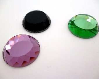 High bright Facetted Glass Cabochon_PA7858712103598_Facetted Colored Cabochons of 18 mm_ pack 3 pcs