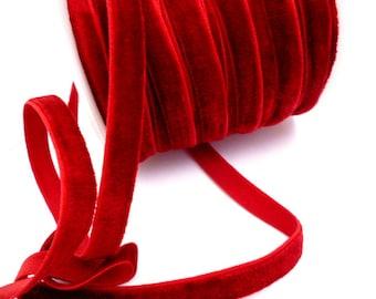 """Burgundy Elastic velvet strap _ PP5108787002427_ Ribbons by Y _ Burgundy  Elastic of 10 mm _0/78 """" _ pack one meter / 3,28 ft /1,09 yard"""