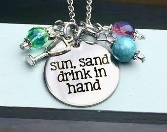 Sun Sand Drink in Hand charm necklace, beach, margarita, summer, party, summer