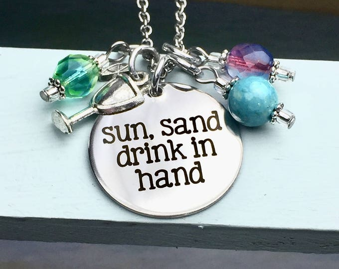 Sun Sand Drink in Hand charm necklace, beach, margarita, summer, party, summer