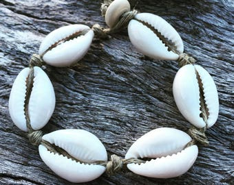 Handmade Hemp Shell Bracelet with Cowrie Shells, Sea Gypsy