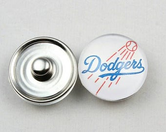 Los Angeles Dodgers Inspired Snap Button Charm-Qty:1
