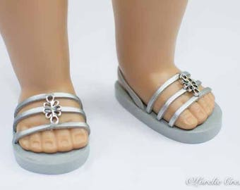 American Girl or 18 inch doll SANDALS SHOES Silver Flipflops Princess Party Dressy Triple Straps with Silver Metal Accent