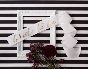 Velvet Bachelorette Sash - Gold on Off White