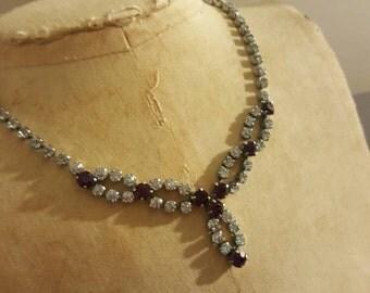 Vintage Amethyst Purple Rhinestone Drop Necklace