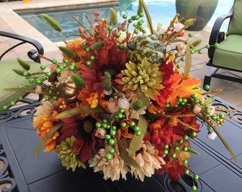 Rustic Centerpiece, Home Decor, Rustic Floral Arrangement, Mantle Centerpiece, Tuscan Centerpiece, Elegant Centerpiece,Designer Floral Decor