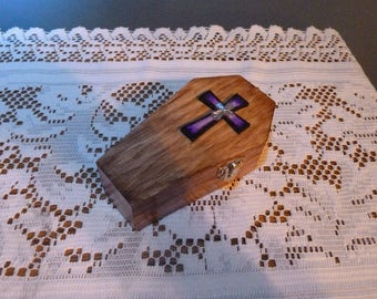 Til death do us part, Coffin ring box, Gothic Wedding, Wooden Coffin with Cross, Jewellery coffin box,