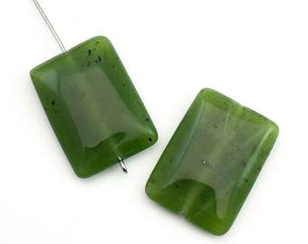 2 BC Jade stone beads,18mm x 25 mm,puff rectangles /  #PP 115