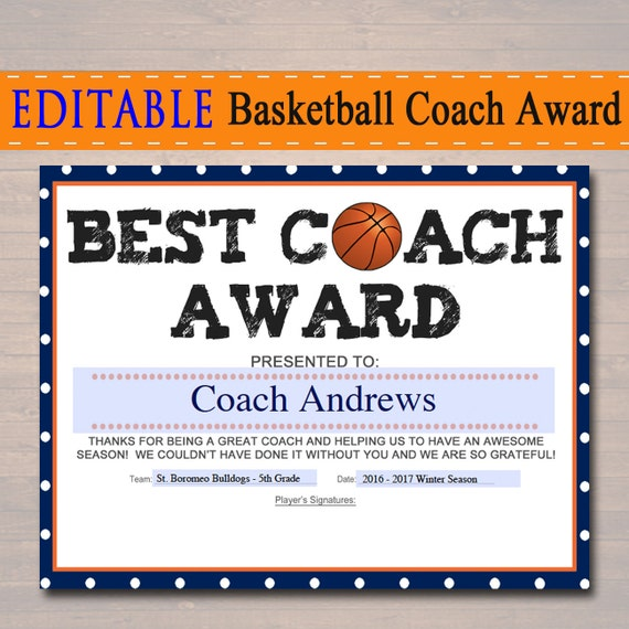 Editable basketball coach award certificate instant download editable basketball coach award certificate instant download basketball team award basketball coach gift best coach award basketball banquet yadclub Choice Image