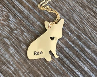 Hand cut French Bulldog pet silhouette necklace, frenchie, dog necklace, personalized, engraved, french bulldog, bulldog, gold