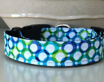 Dog Collar - Retro Circles Blues Greens on White