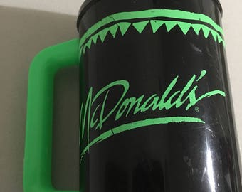 McDonalds Coca-Cola Ho tGreen Black Coffee Thermos Mug Cup 1990's Hot Cold