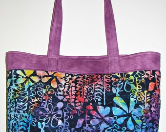 Modern Quilted Tote Bag, Abstract Floral Batik Purse, Turquoise Plum Navy Fabric Tote Bag, Quiltsy Handmade
