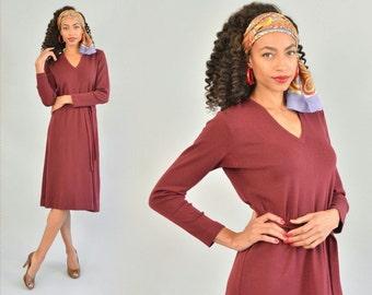 Ports International Sweater Dress - Vintage 70s 80s Belted Knit Dress Burgundy Wool Dress with Belt V-Neck Long Sleeves Knee Length Size L