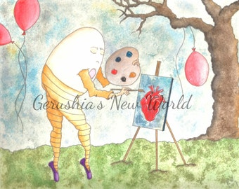 The Way He Sees The World - Salted Watercolor, Print, Humpty Dumpty