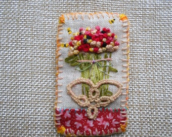 French Knotted Flower Brooch