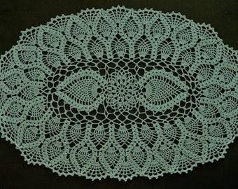 DOILY, Crocheted doily, oval doily, oval pineapple doily,home decor, crochet centerpiece, brown centerpiece