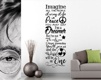 IMAGINE by John Lennon Music Lyrics Wall Quote - Premium Vinyl Decal for your Home Decor - World Peace