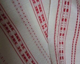 fabric 6 yds / vintage red stripe and cream