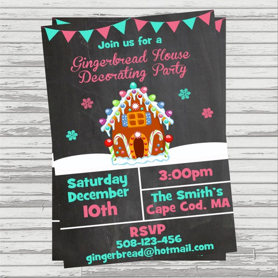 Gingerbread house decorating party digital invitation Gingerbread house decorating party invitations