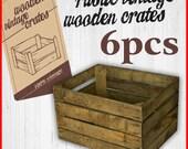 6 x Vintage Wooden Apple Crate Rustic Wood Box Wedding Decor Farmhouse Log Storage Cottage Living Photo Prop