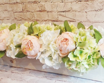 """Quaint Cottage Style Hydrangea Blooms in White and Green with Pink Peonies """"Planted"""" in a 20 Inch Long White Wooden Box"""