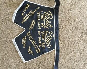 Vintage Black/Gold Satin Party Briefs Humerous Apron 1950's
