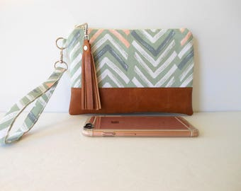 """iPhone 7 Plus Wristlet Clutch Wallet, Primitive Chevron Tribal Print in Sage Green and Cream with Faux Leather Base 9""""x6""""  (ready to ship)"""